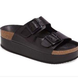 Topshop Birkenstock Platform Leather Strap sandals